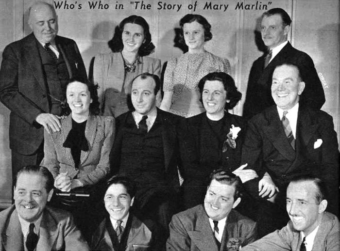 "Story of Mary Marlin Cast: ""Story of Mary Marlin"" Frazier Mithell (Phil Lord), Tanya (olga Rosenova), Sarajane Kane (Helen Behmiller), Rufus Kane (Rupert LoBelle).  Seated: Bunny Mitchell (Fran Carlon), Joe Marlin (Robert Griffin), Mary (Ane Seymour), David Post (Carlton Brickert), Seated on floor: Arnold (Arhtur Kohl), Timothy (Frankie Pacelli), Oswald Ching (Bob Jellison), and announcer Bob Brown"