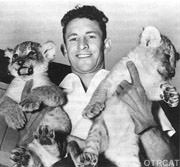 Clyde Beatty Publicity Photo with tiger cubs