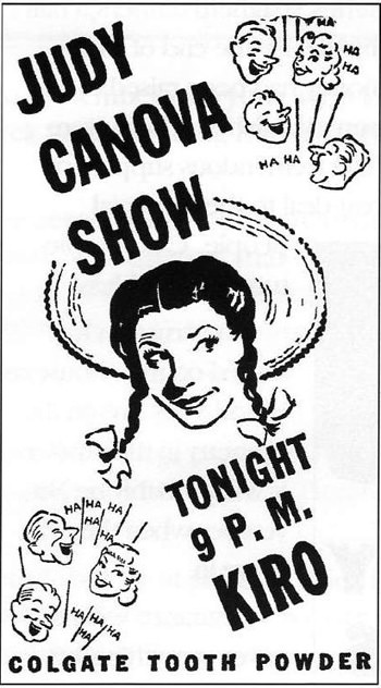 Judy Canova Show tonight 9 pm at KIRO Colgate Tooth Powder