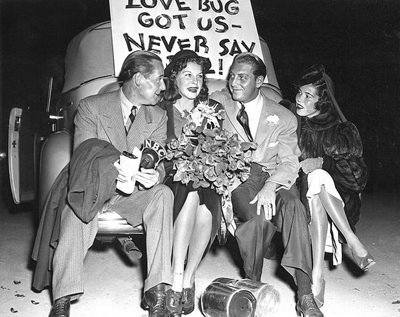 Martha Raye & David Rose, with Hollywood columnist Jimmy Fidler and wife, who accompanied them to their wedding