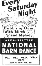 Alka Seltzer National Barn Dance advertisement