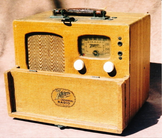 1.	Even before the United States entered the war, portable radios such as this 1940 Zenith model 5G401 were being purchased for use as �blackout radios� in the event of air raids.  It is not too hard to imagine that news bulletins telling about the Pearl Harbor attack were received on this very radio on December 7th, 1941.