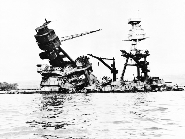 4.	The battleship Arizona sank nine minutes after its forward magazines exploded.  Too badly damaged to refloat and repair, it was left as a permanent memorial to victims of the Pearl Harbor attack.