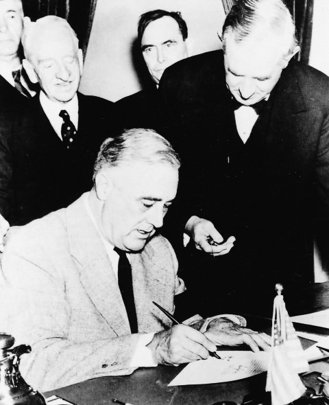 6.	Only an hour after the President spoke to Congress, a declaration of war with Japan had been approved and was ready for his signature.