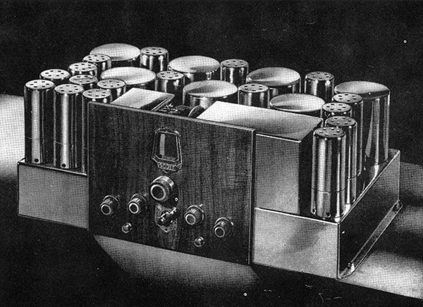 1.	A studio portrait of a 23-tube Scott Full Range High Fidelity Allwave radio receiver.  This is the 7-knob variation, which was first sold about March 1936.