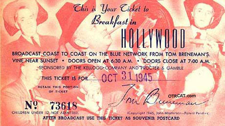 Breakfast in Hollywood Ticket