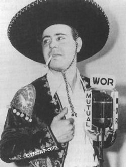 Jason Beck as Cisco Kid in front of a broadcast microphone