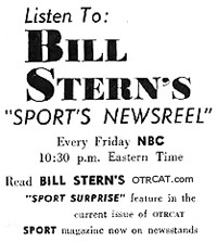 Advertisement for the radio show, Sports Newsreel