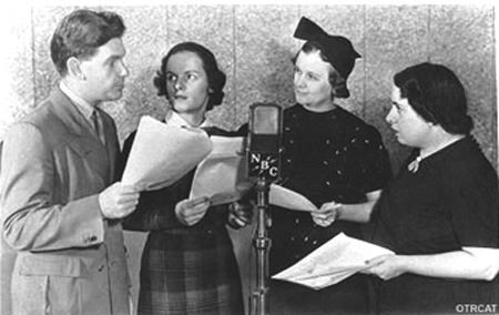 Guiding Light Cast at the microphone: Arthur Peterson, Mercedes McCambridge, Helen Behmiller, Henrietta Ledro
