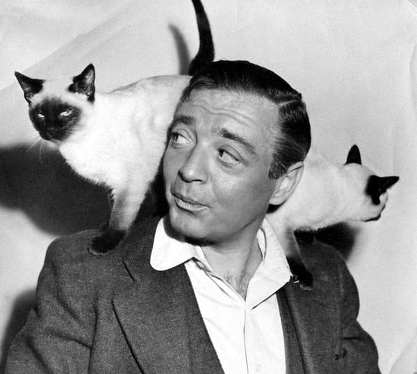 Peter Lorre & Siamese Cats