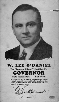 Lee O'Daniel for governor poster