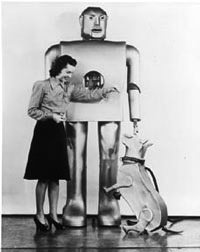 Lady in the future of robotic man and dog