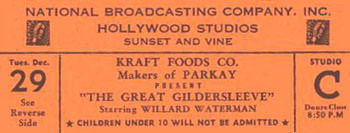 National Broadcasting Company Hollywood Studios for the Great Gildersleeve Dec 29