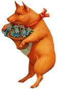 Pig carrying flowers