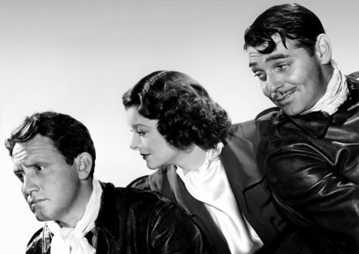 Clark Gable, Myrna Loy, and Spencer Tracy