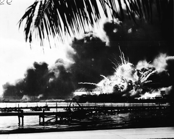 Just as the first bulletins announcing the Pearl Harbor attack were being broadcast over the major U.S. radio networks, the destroyer Shaw blew up in a spectacular explosion.  Incredibly, the Shaw was later repaired and rejoined the fleet before the war had ended.