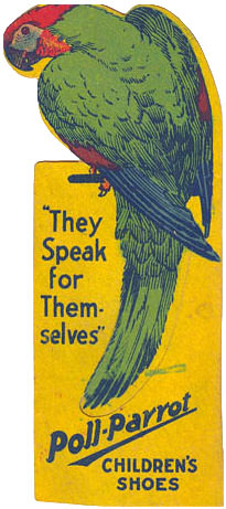 They Speak for themselves - poll parrot children's shoes sign
