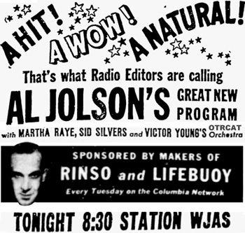 Al Jolson Ad
