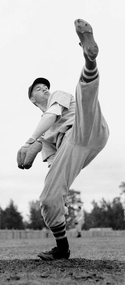 Bob Feller pitching