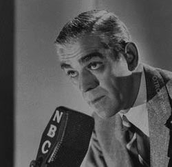 Boris Karloff at the microphone