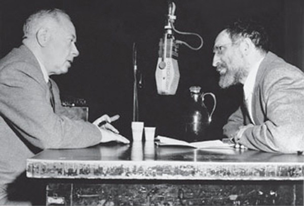 David Sarnoff and Louis Finkelstein in broadcats studio circa 1940s