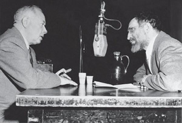David Sarnoff and Louis Finkelstein in broadcats studio circa 1940s