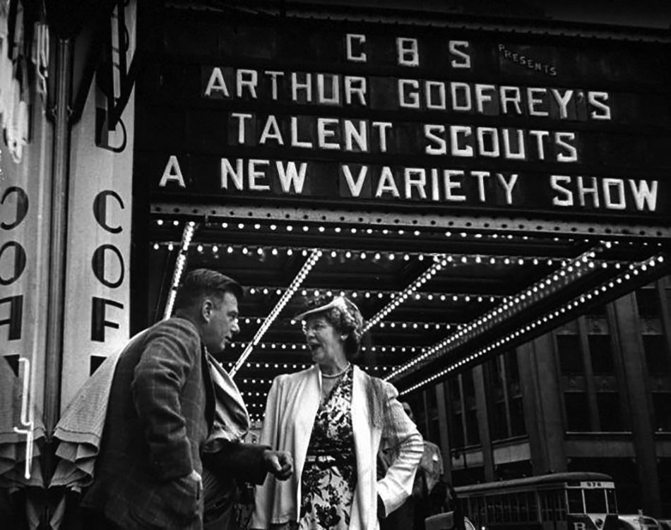 Arthur Godfrey Talent Scouts in front of what later would become the Ed Sullivan Theater