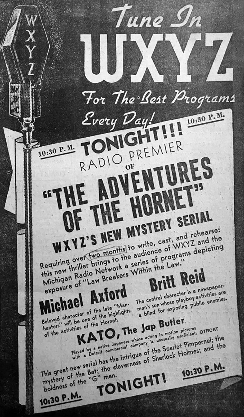 WXYZ advertisement for green hornet