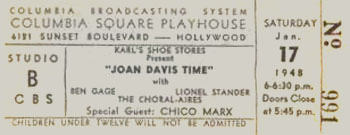 Joan Davis Time Ticket at Columbia Square Playhouse