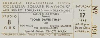 Joan Davis Time Ticket at Columbia Square Playhouse