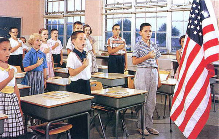 Kids Saying Pledge 1950s