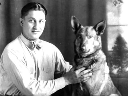 Young Lawrence Welk and dog