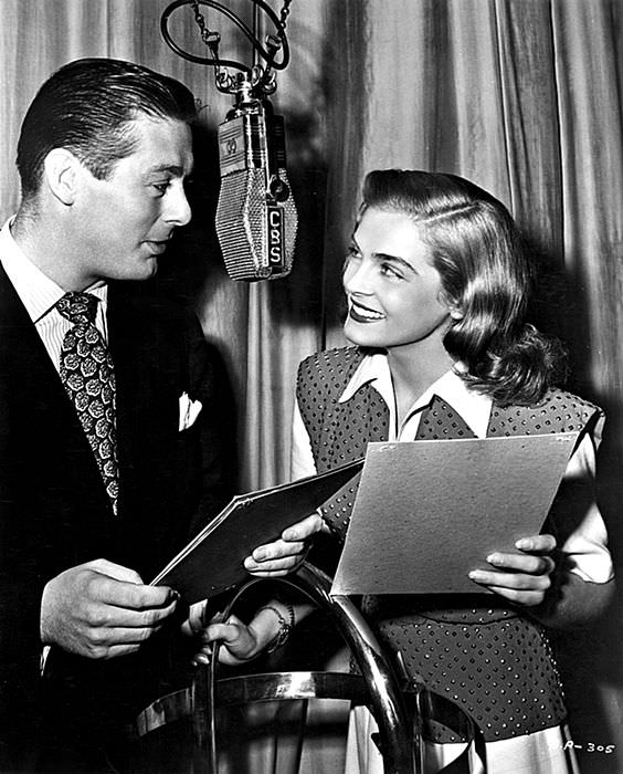 Lizabeth Scott on radio with Don Defore on You Came Along, 1946