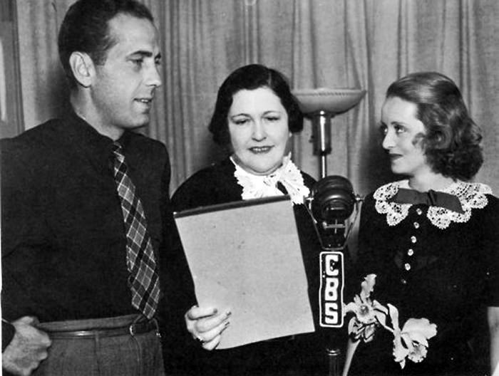 Louella Parsons with Humphrey Bogart and Bette Davis