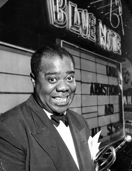 Louis Armstrong outside Bluenote