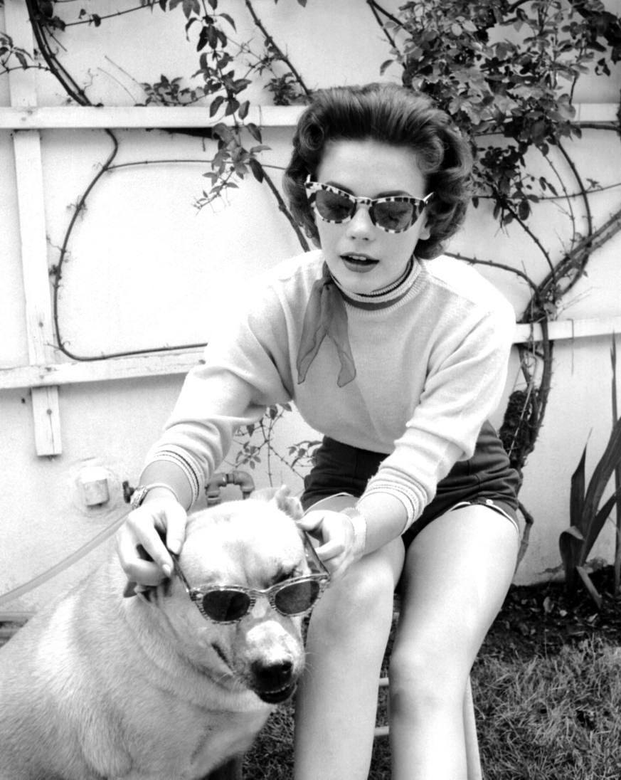 Natalie Wood and dog in sunglasses