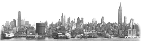 New York City Skyline Circa 1950