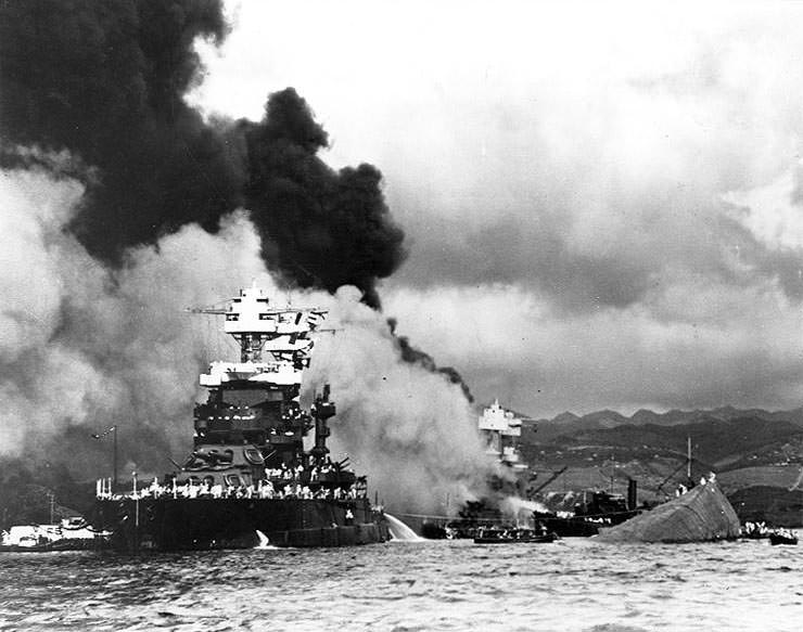 Pearl Harbor - capsizing USS Oklahoma, Dec 7 1941