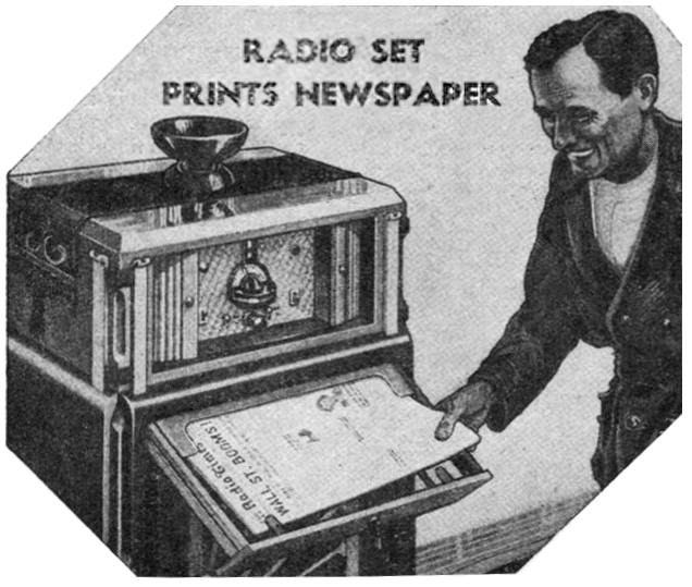 From the future: a radio printing out paper!
