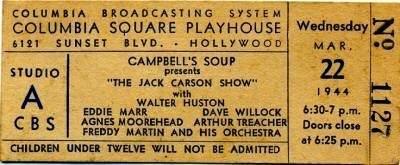 Jack Carson Ticket