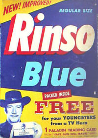 Rinso Blue advertisement, sponsor of Big Sister radio program is also advertising for Have Gun Will Travel