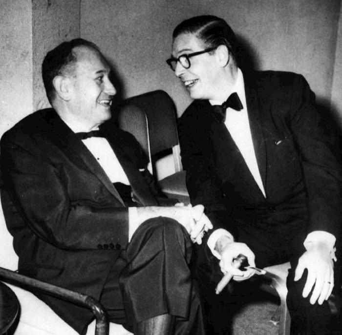 Last photo of Harry Einstein with Milton Berle 1958